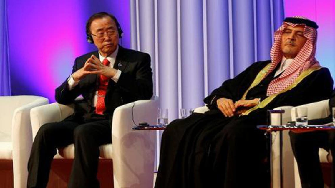 U.N. Secretary-General Ban Ki-moon (L) and Saudi Arabian Foreign Minister Prince Saud al-Faisal, listen during the opening ceremony of the `King Abdullah Bin Abdulaziz International Center for Interreligious and Intercultural Dialogue reuters