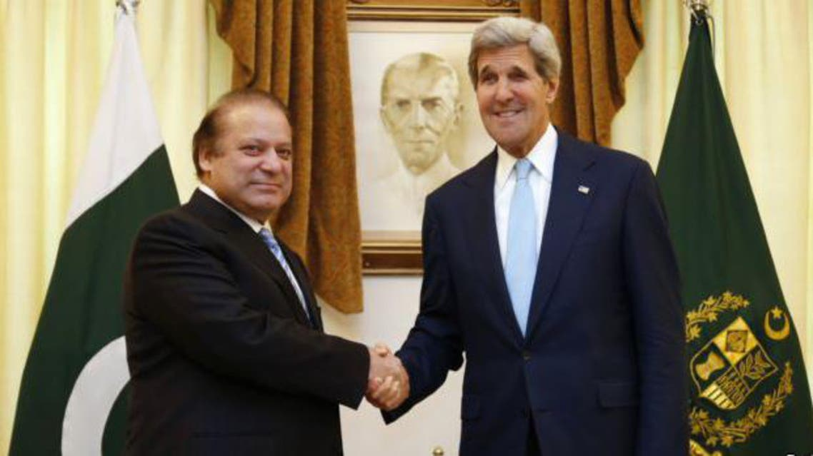 U.S. Secretary of State John Kerry (R) shakes hands with Pakistan's Prime Minister Nawaz Sharif in Islamabad reuters