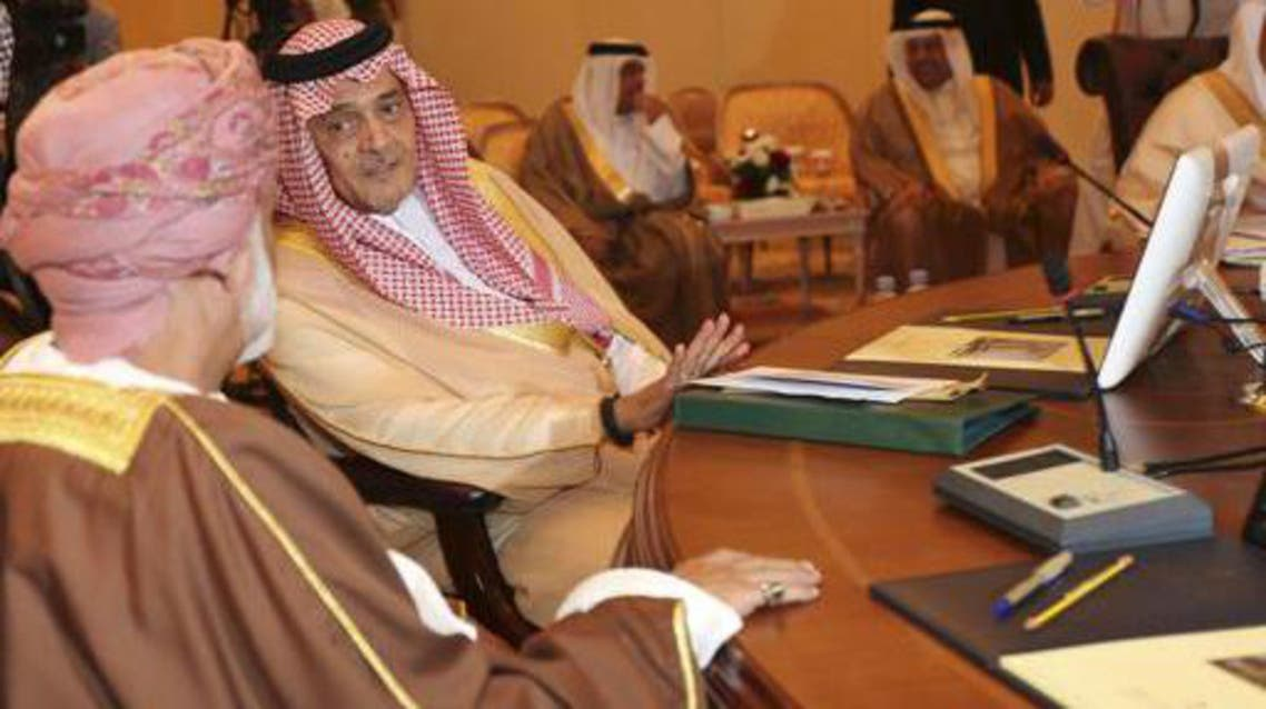 Saudi Foreign Minister Saud al-Faisal chats at a meeting of foreign ministers of the Gulf Cooperation Council's countries. (File photo: Reuters)