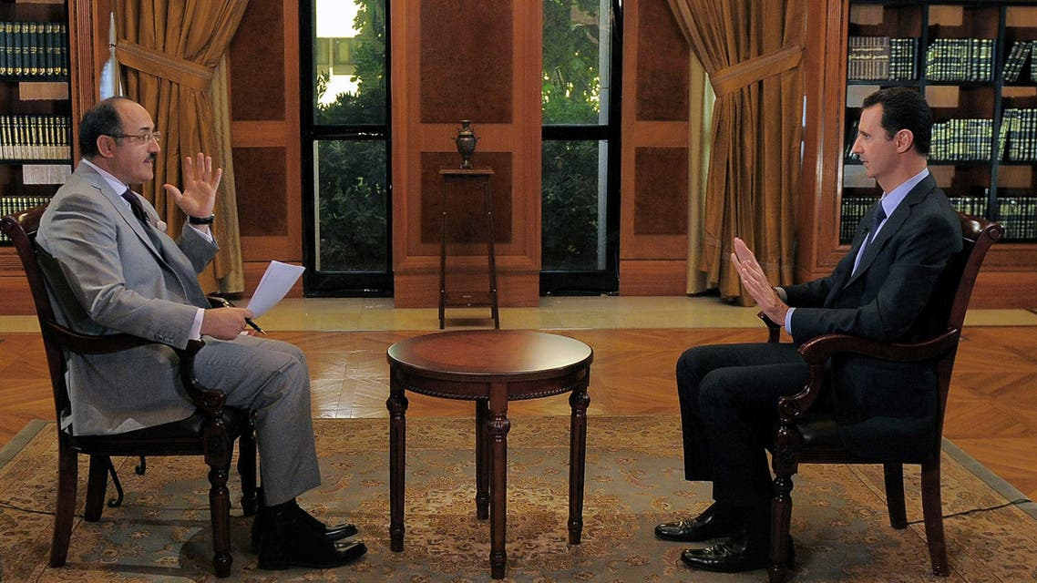 بشار الأسد في مقابلة على قناة الميادين
