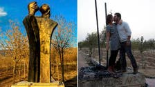Iraqi couple protest statue vandalism with controversial kiss