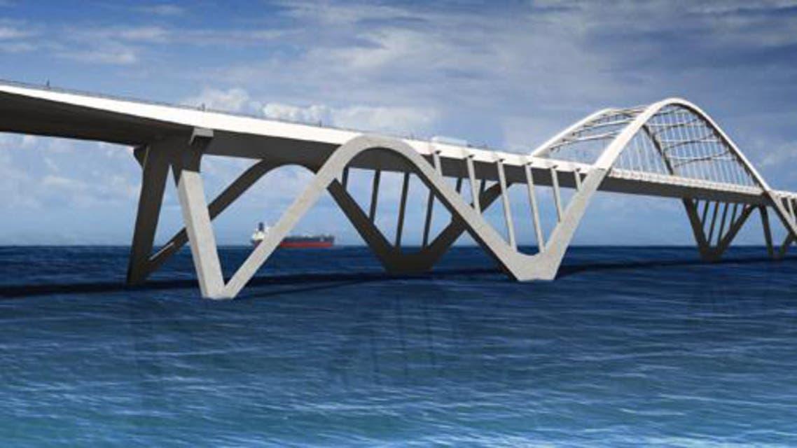 التصميم الأولي لجسر المحبة الذي سيربط بين الدوحة والمنامة