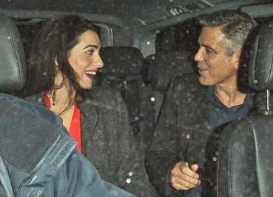George Clooney and his alleged new girlfriend, Lebanese lawyer Amal Alamuddin, leaving a restaurant in London last week. (Photo courtesy Twitter, via: ibtimes.com)