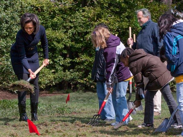 ميشيل أوباما تشارك طلابا في حصاد حديقة البيت الأبيض
