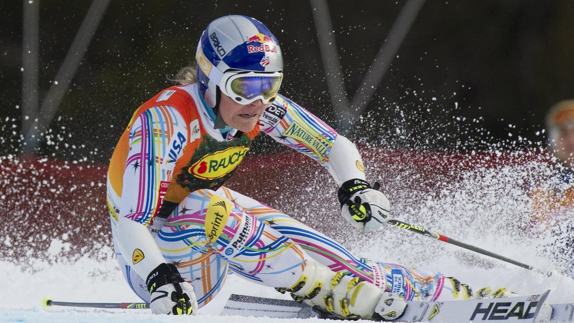 A file picture taken on March 9, 2012  shows USA' Lindsey Vonn competing during the first run of the women's FIS Alpine Ski World Cup giant slalom in Are. (AFP)