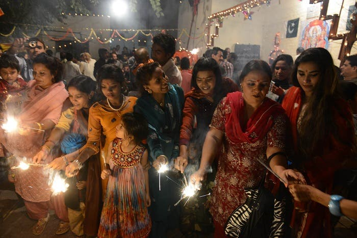 Pakistani minority Hindus celebrate Diwali with fireworks in Lahore, Pakistan. (AFP)