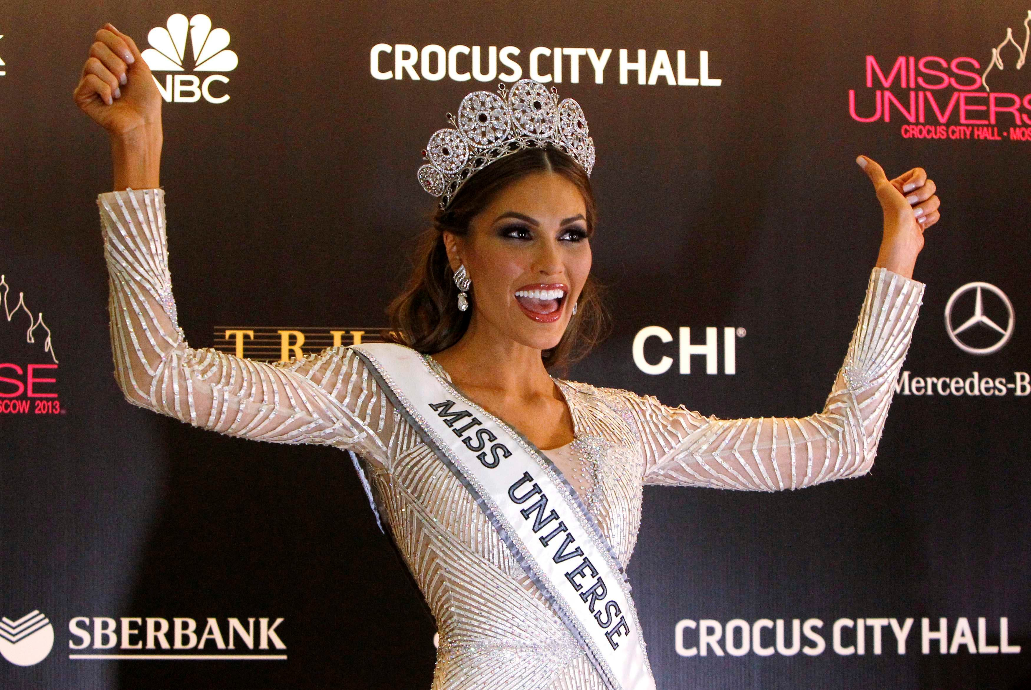 Miss Venezuela Gabriela Isler reacts as she is given the winner's sash after winning the Miss Universe pageant at the Crocus City Hall in Moscow Nov. 9, 2013. (Reuters)