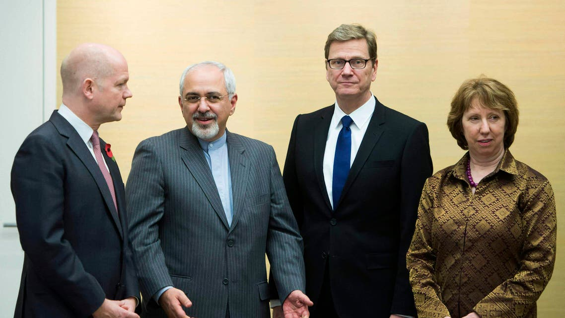 L-R) British Foreign Secretary William Hague, Iranian Foreign Minister Mohammad Javad Zarif, Germany's Foreign Minister Guido Westerwelle and EU foreign policy chief Catherine Ashton