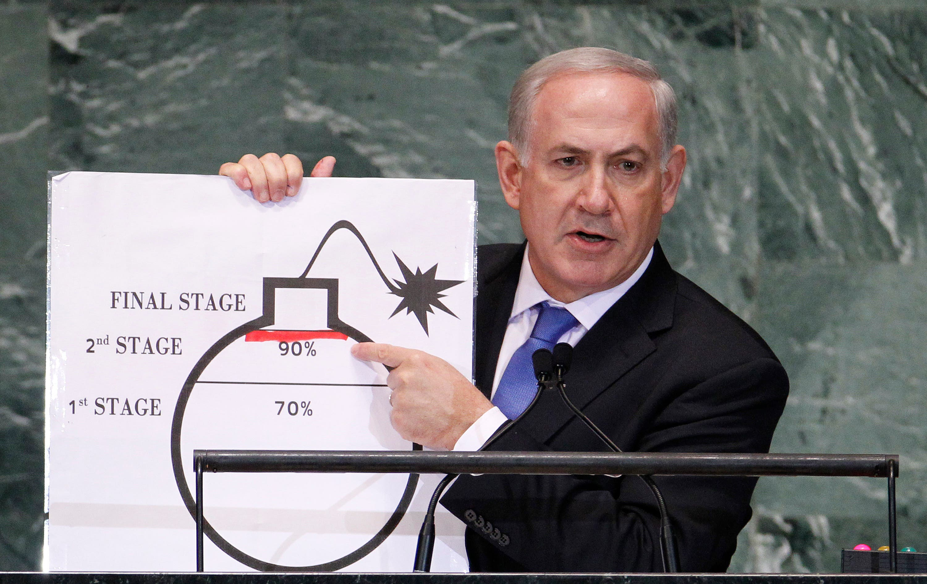 Israel's Prime Minister Benjamin Netanyahu points to a red line he has drawn on the graphic of a bomb as he addresses the 67th United Nations General Assembly at the U.N. Headquarters in New York, Sept. 27, 2012. (Reuters)