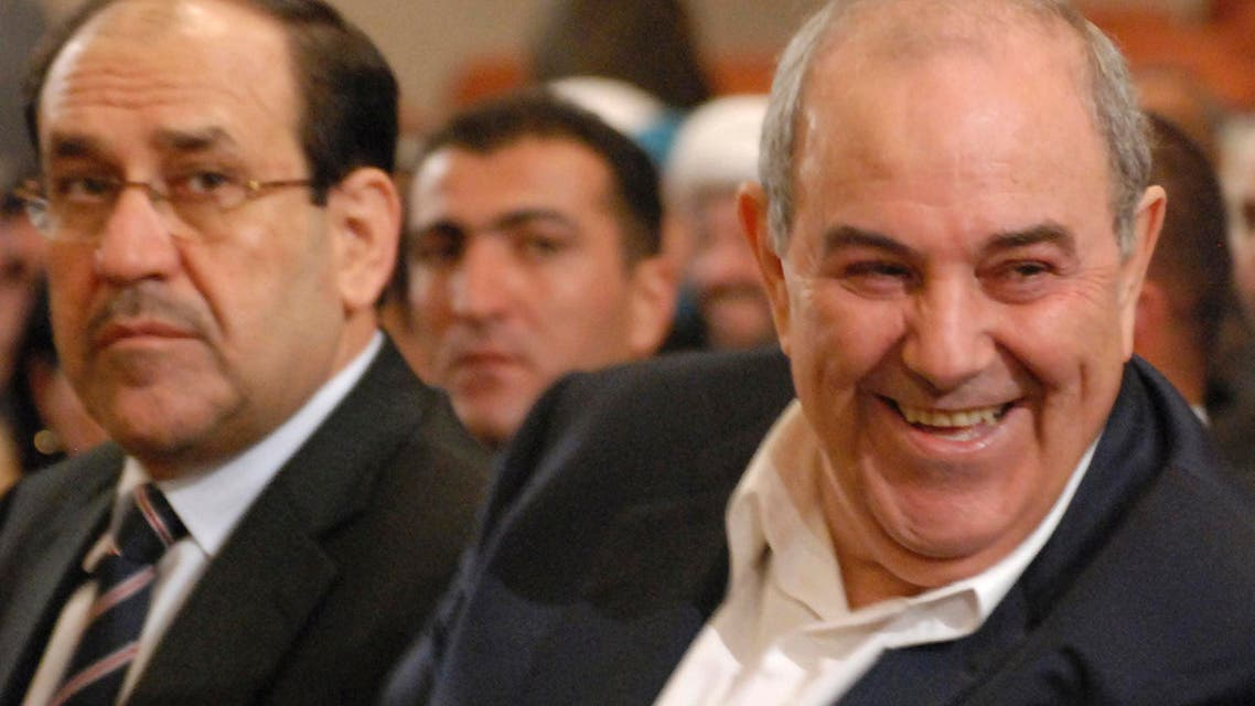 Iraq's Prime Minister Nuri al-Maliki (L) and former Iraqi premier and head of the secular Iraqiya coalition Iyad Allawi, are seen at a parliament session in Baghdad, Nov. 11, 2010. (File Photo: Reuters)