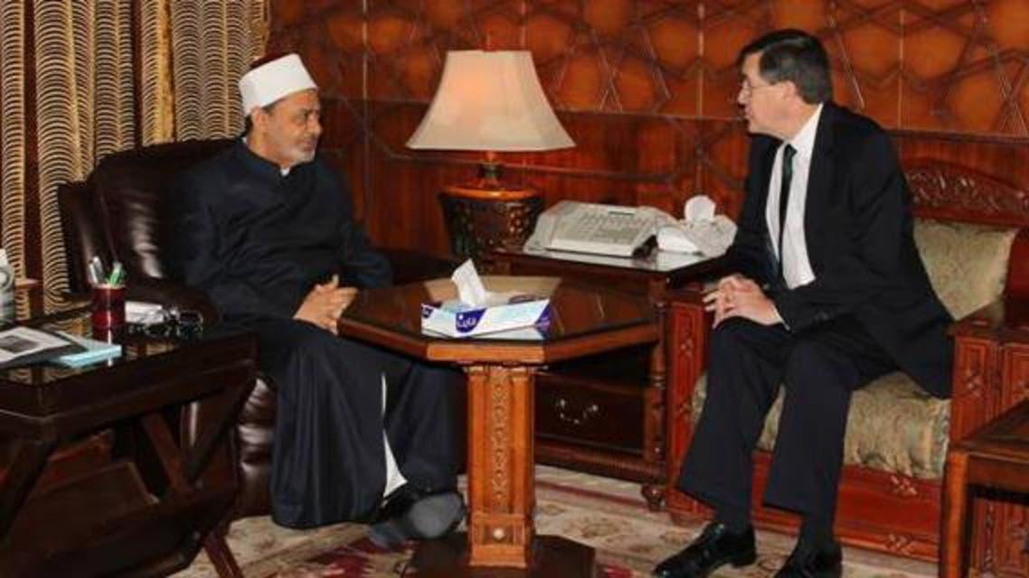 شيخ الأزهر الدكتور أحمد الطيب و السفير الأميركي في مصر ديفيد ساترفيلد