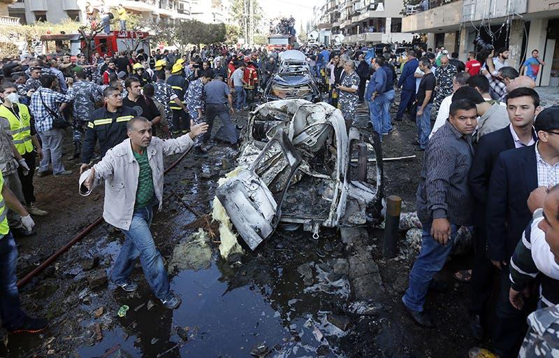 موقع تفجير السفارة الايرانية في بيروت