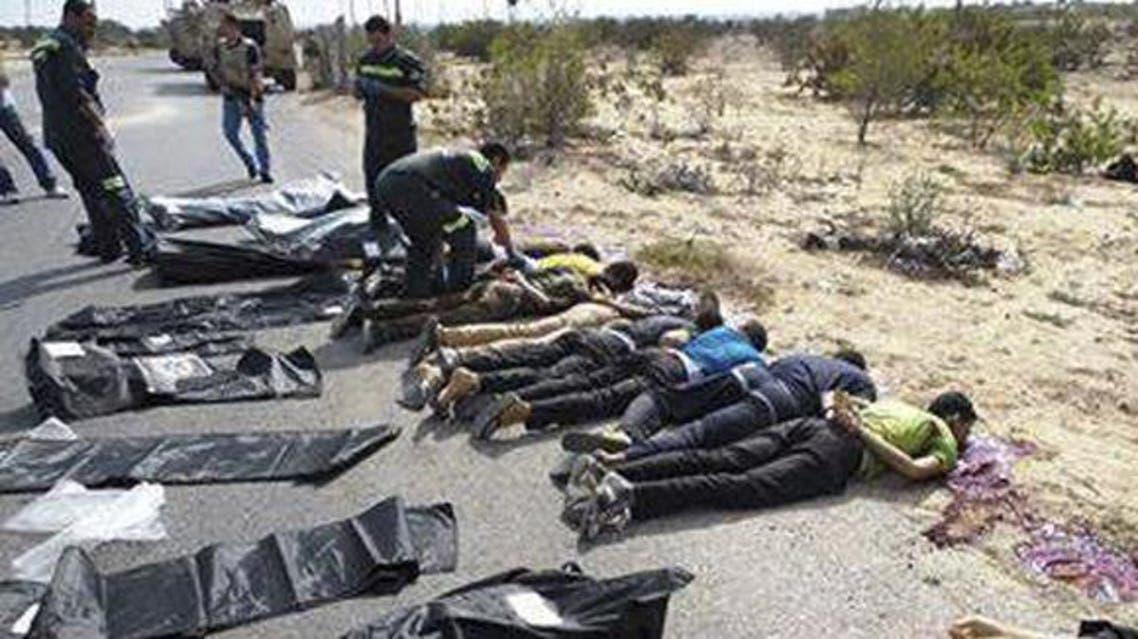 جثث 25 جندي تم قتلهم بحادثة رفح الثانية
