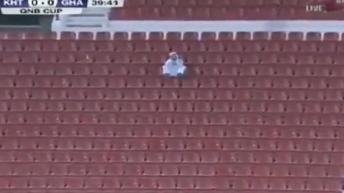 Only one spectator was caught on camera attending a recent match in Qatar's Stars League