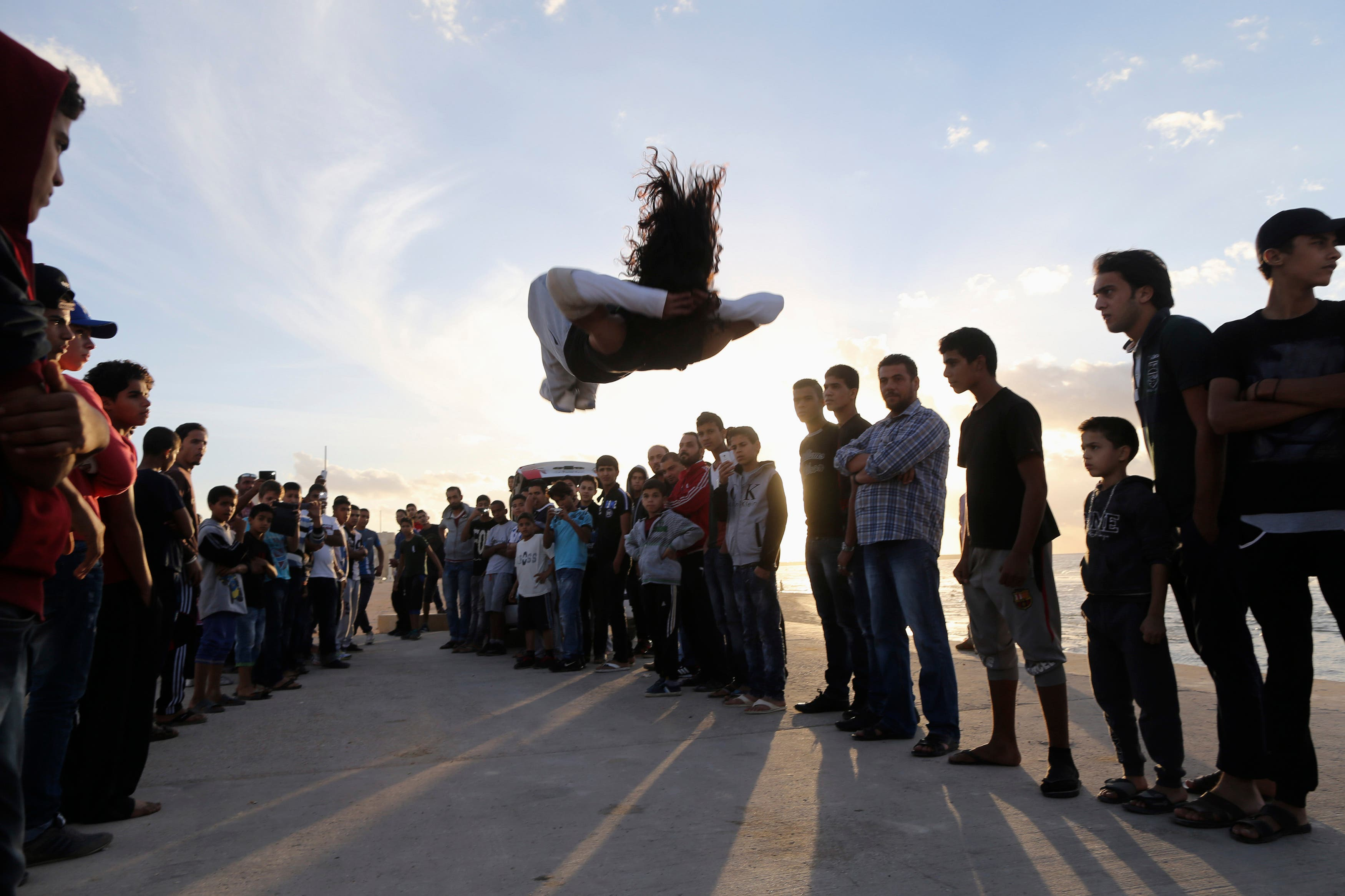 Practicing parkour in Libya