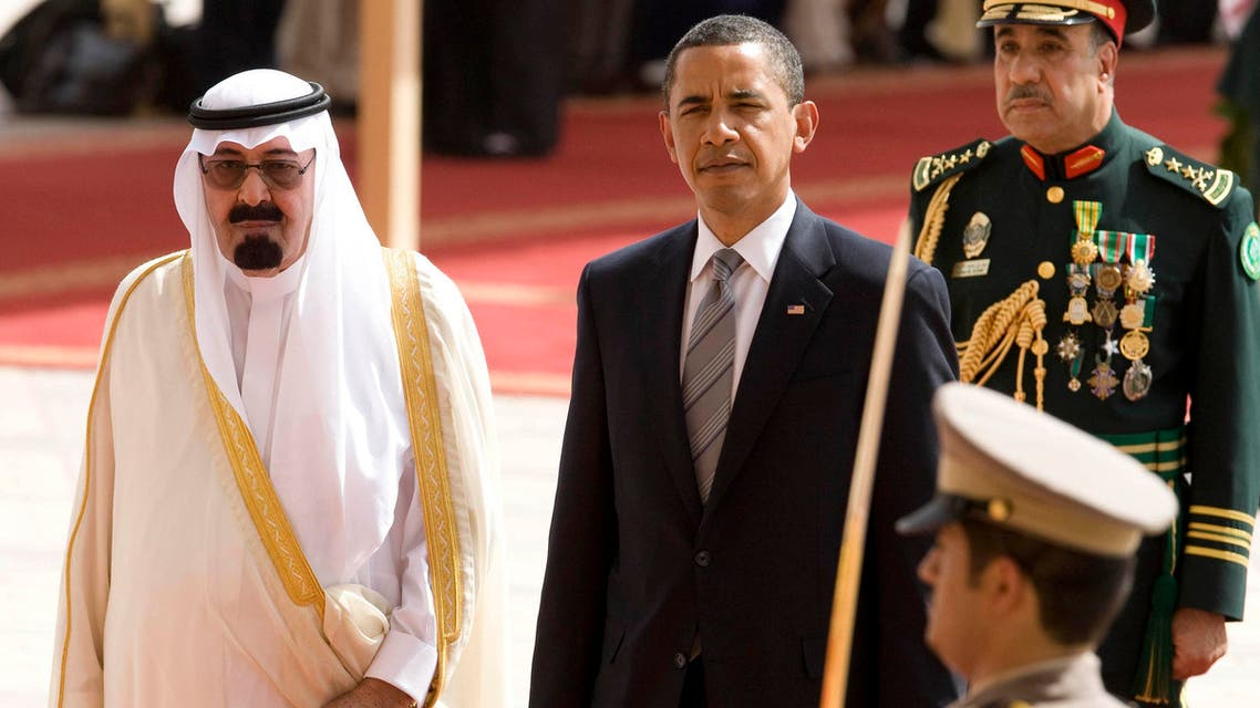 .S. President Barack Obama (C) is welcomed to the Kingdom of Saudi Arabia by King Abdullah (L) at King Khalid International Airport in Riyadh June 3, 2009. (Reuters)
