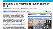 Daily mail to launch Australian website