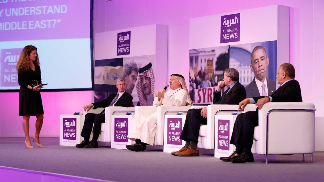 Al Arabiya senior anchor Rima Maktabi introduces a panel discussion on Western understanding of the Arab world. (Al Arabiya)