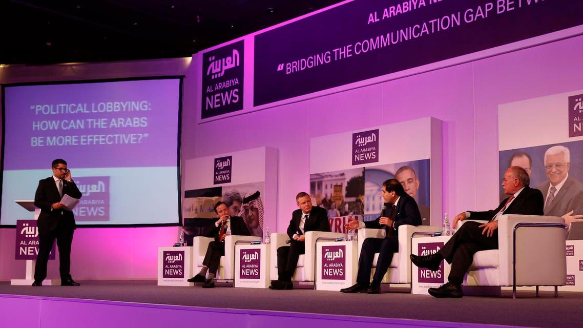 Faisal J. Abbas, Editor-in-Chief of Al Arabiya News, opens Al Arabiya Global News Discussion in Dubai on Nov. 30, 2013. (Al Arabiya)