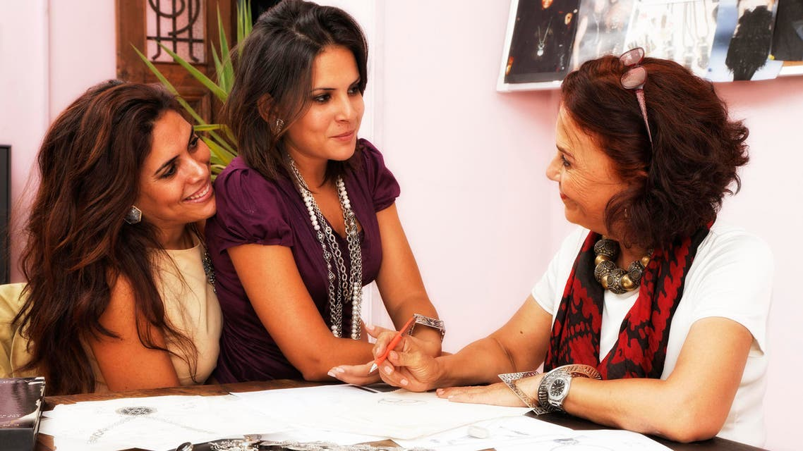 Azza Fahmy and daughters