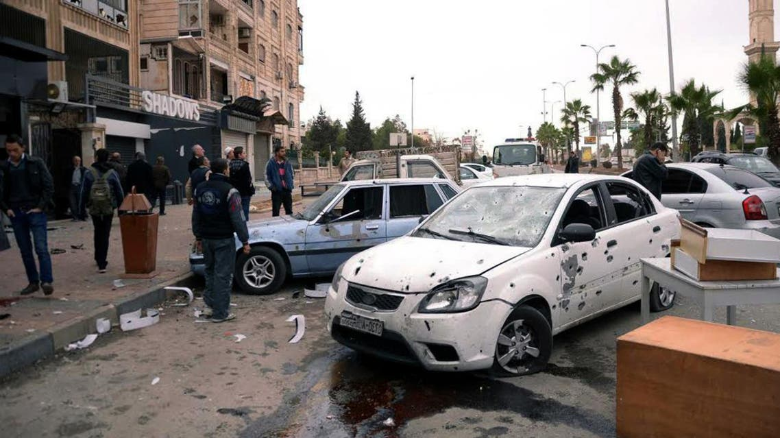 A multiple rocket attack on the Furqan and Meridian districts of the northern Syrian city of Aleppo. (AFP)
