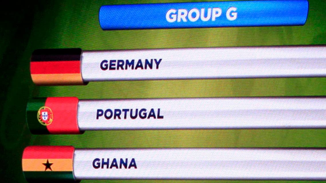 The teams in Group G for the 2014 World Cup finals are shown on the screen after the draw was made at the Costa do Sauipe resort in Sao Joao da Mata, Bahia state, Dec. 6, 2013. (Reuters)