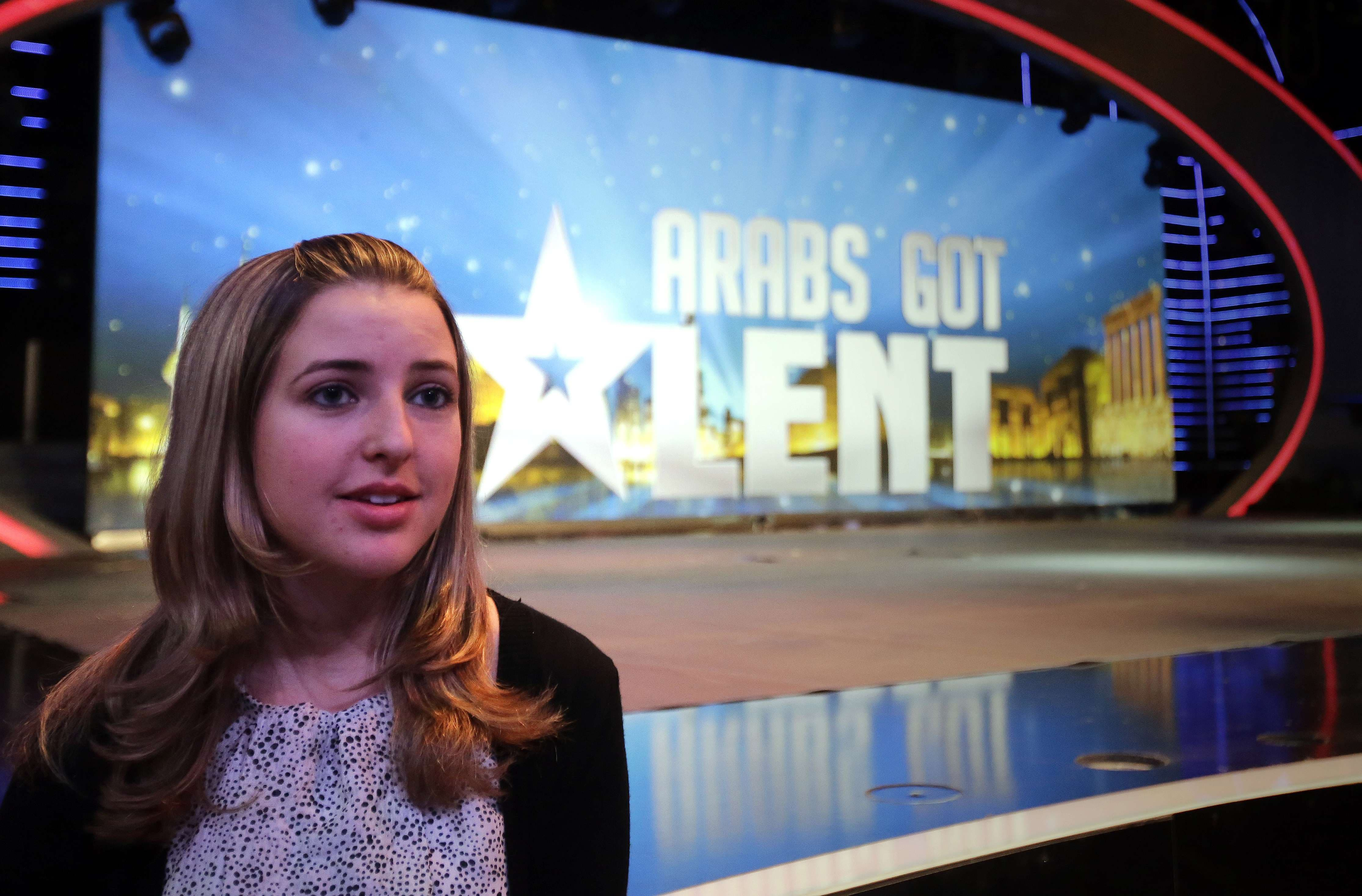 """Jennifer Grout, the American contestant in the pan-Arab TV program """"Arabs Got Talent"""" is seen at the MBC television station studios in Zouk Mosbeh, north of Beirut, during rehearsals on Dec. 4, 2013. (AFP)"""