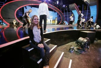 Jennifer Grout at the MBC television station studios in Zouk Mosbeh, north of Beirut. (AFP)
