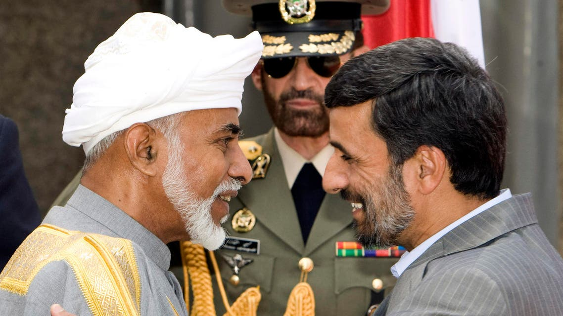 The then Iranian President Mahmoud Ahmadinejad greets Oman's Sultan Qaboos bin Saeed during a welcoming ceremony in Tehran in August 2009. (File photo: Reuters)