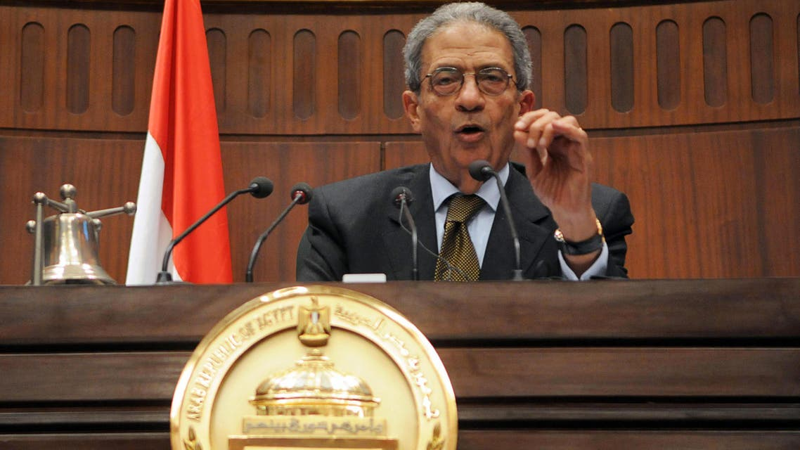 Amr Moussa, head of the assembly writing Egypt's new constitution,speaks after they finished their vote at the Shura Council in Cairo December 1, 2013.  reuters