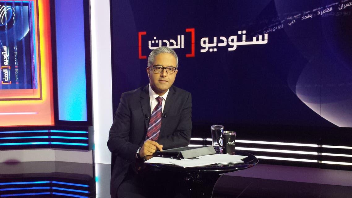 Mohammad Abu Obeid fronts the program Studio Al-Hadath. (Al Arabiya)