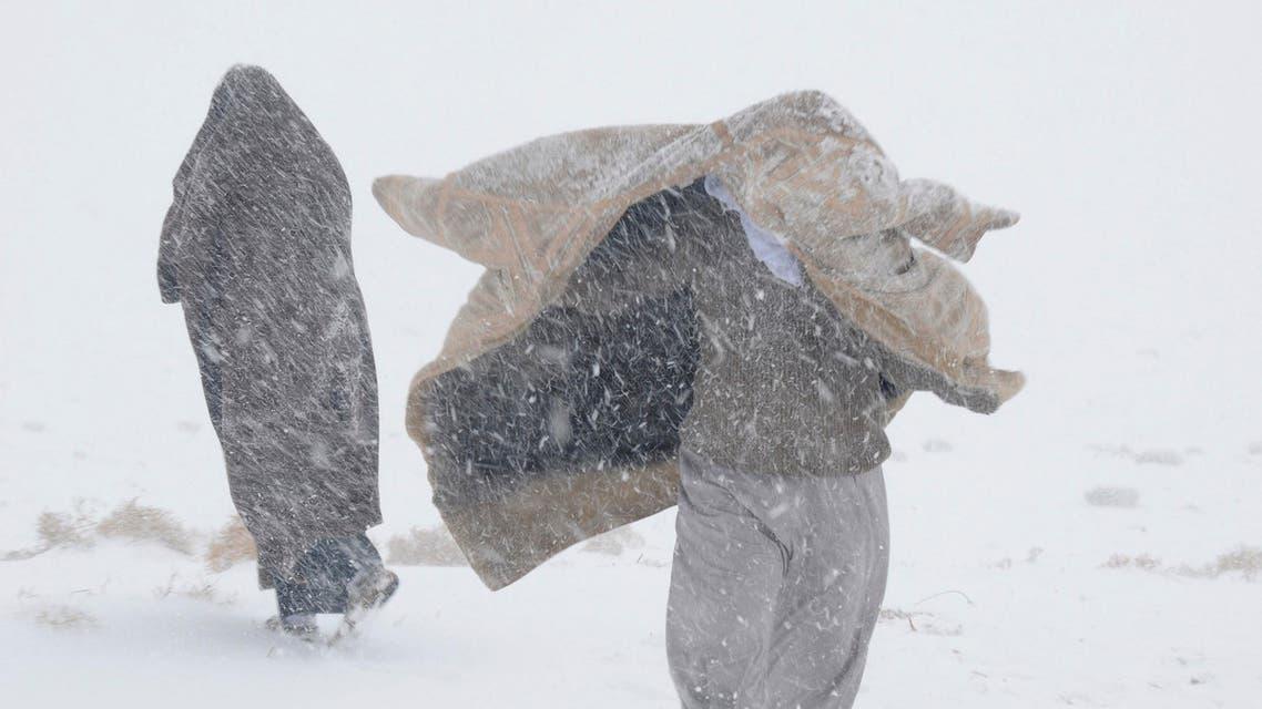 الثلج في قرية علقان في منطقة تبوك