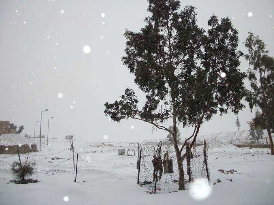 Snow and rain in Egypt's capital