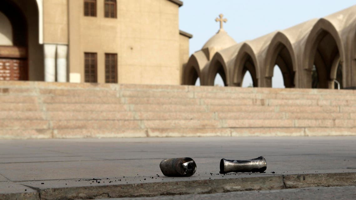 Spent tear gas canisters are seen outside the main cathedral in Cairo during clashes in Cairo, April 7, 2013. Reuters