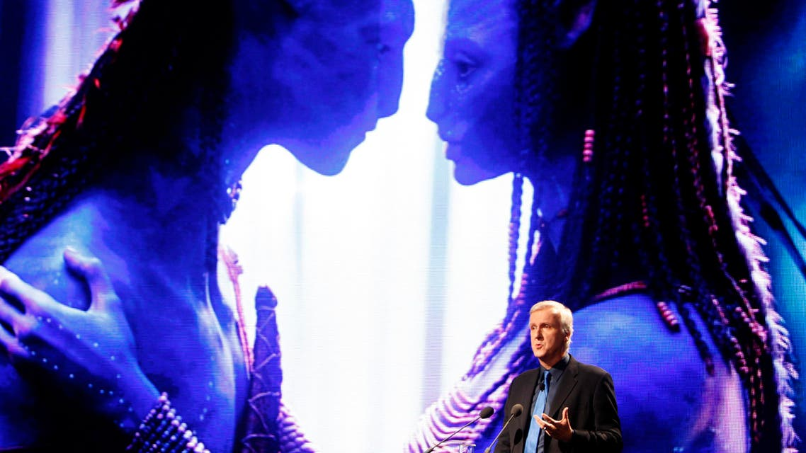 """Film director and Lightstorm Entertainment Chairman James Cameron delivers a keynote address titled """"Renaissance now in imagination and technology"""" in front of an image of his recent movie """"Avatar"""" during the Seoul Digital Forum 2010 May 13, 2010."""