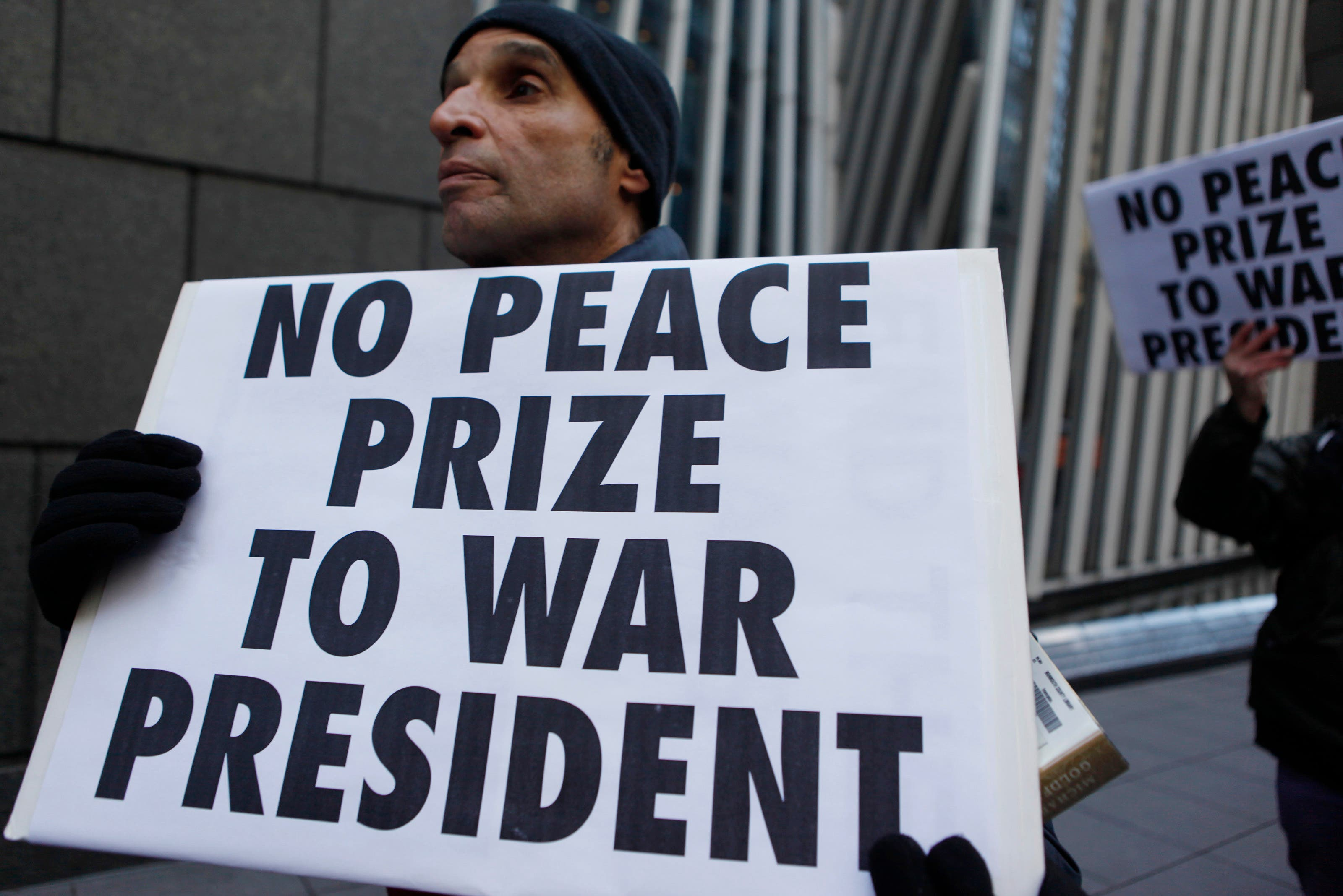 Protesters also marched through Manhattan over the Nobel Peace Prize and the war in Afghanistan, pictured in Dec. 2009. (File photo: Reuters)