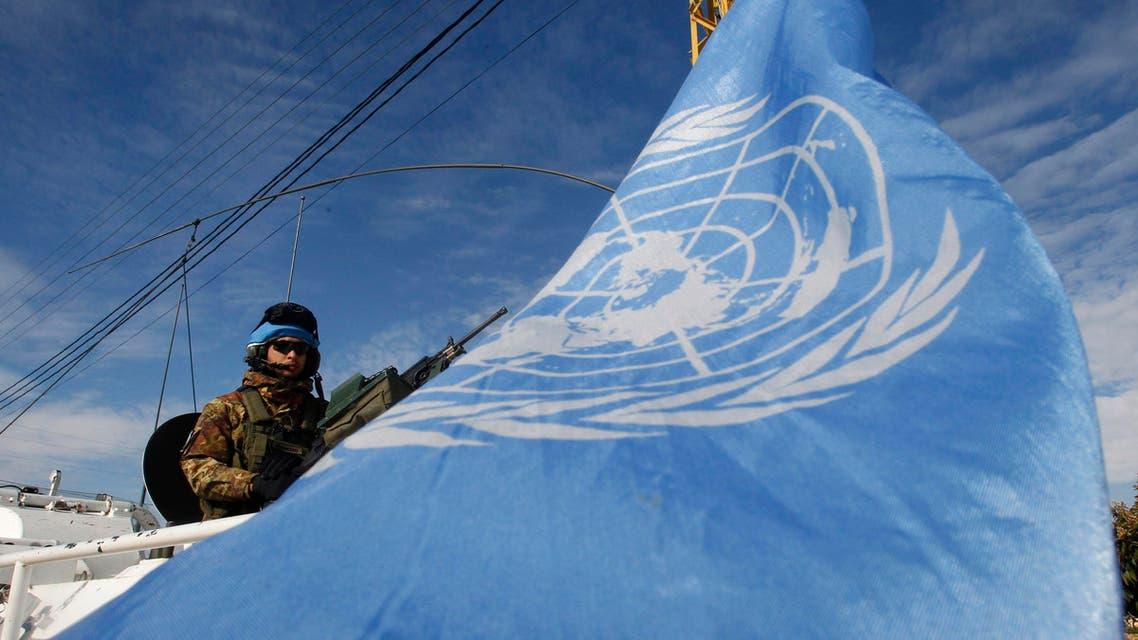 A U.N peacekeeper of the United Nations Interim Force in Lebanon (UNIFIL)