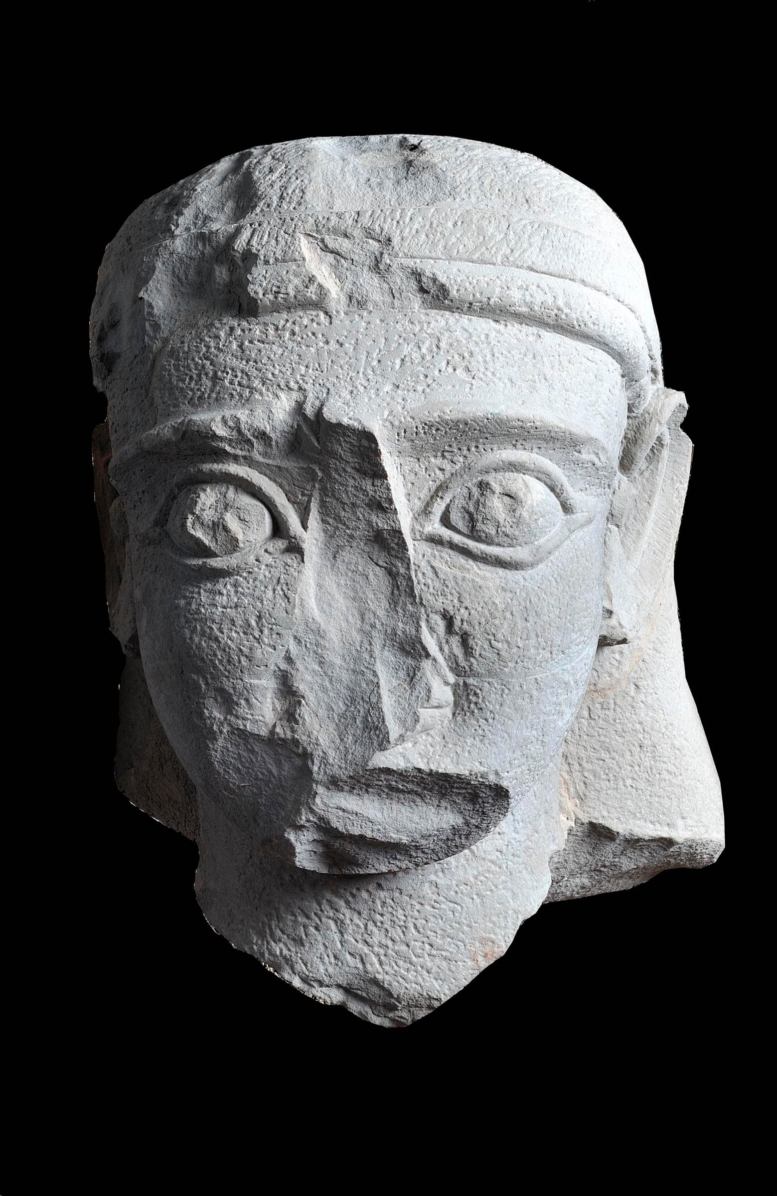 Head of a Lihyanite Dynasty Statue, Tayma, Yard E, deposit of the ancient Temple E-b1, Saudi Arabia, 4thu20132nd century BC, sandstone (restored), Tayma Museum