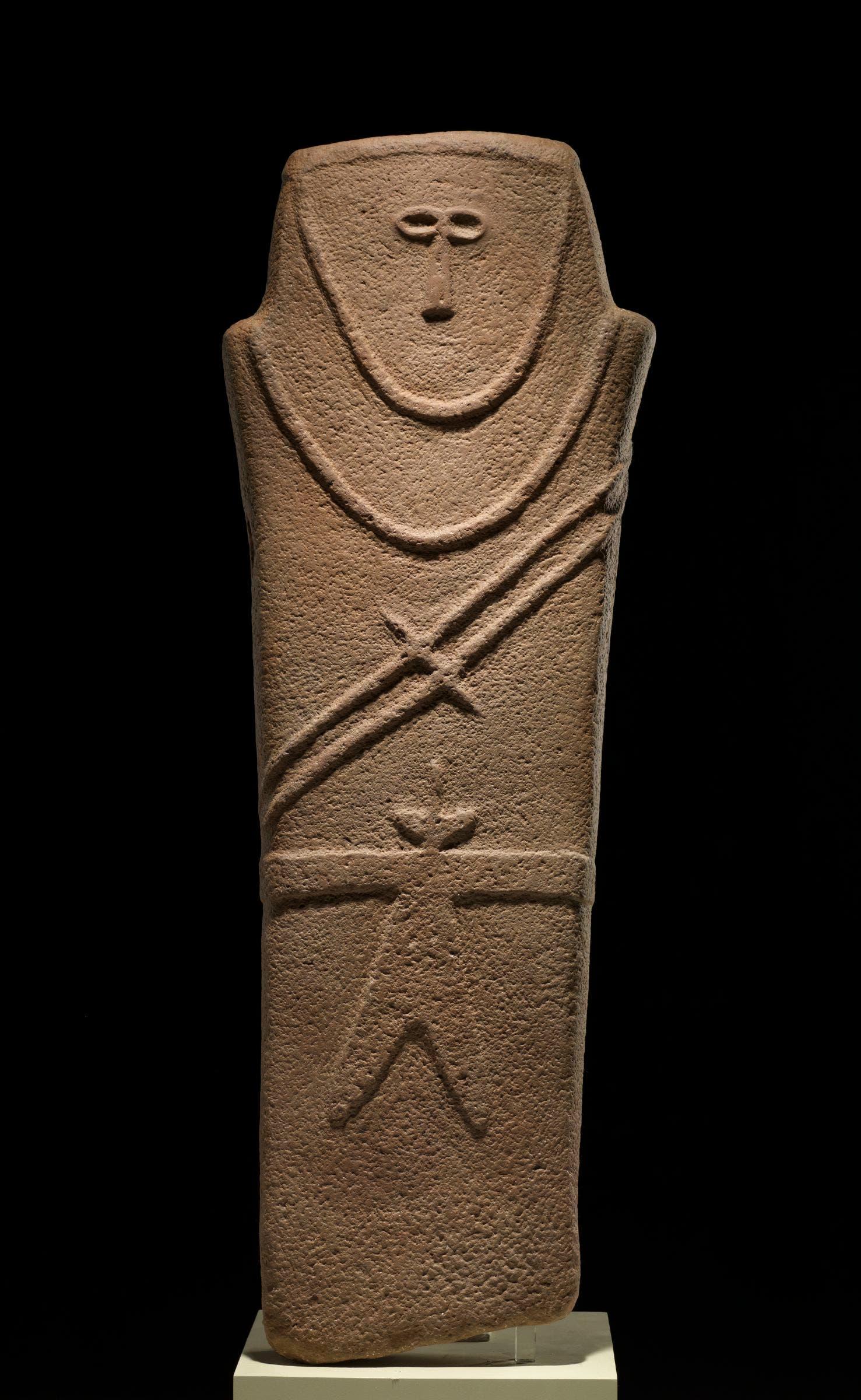 Anthropomorphic Stele, near al-Ula, Madau2019in Saleh, Tayma, Saudi Arabia, 4th millennium BC, sandstone, National Museum, Riyadh