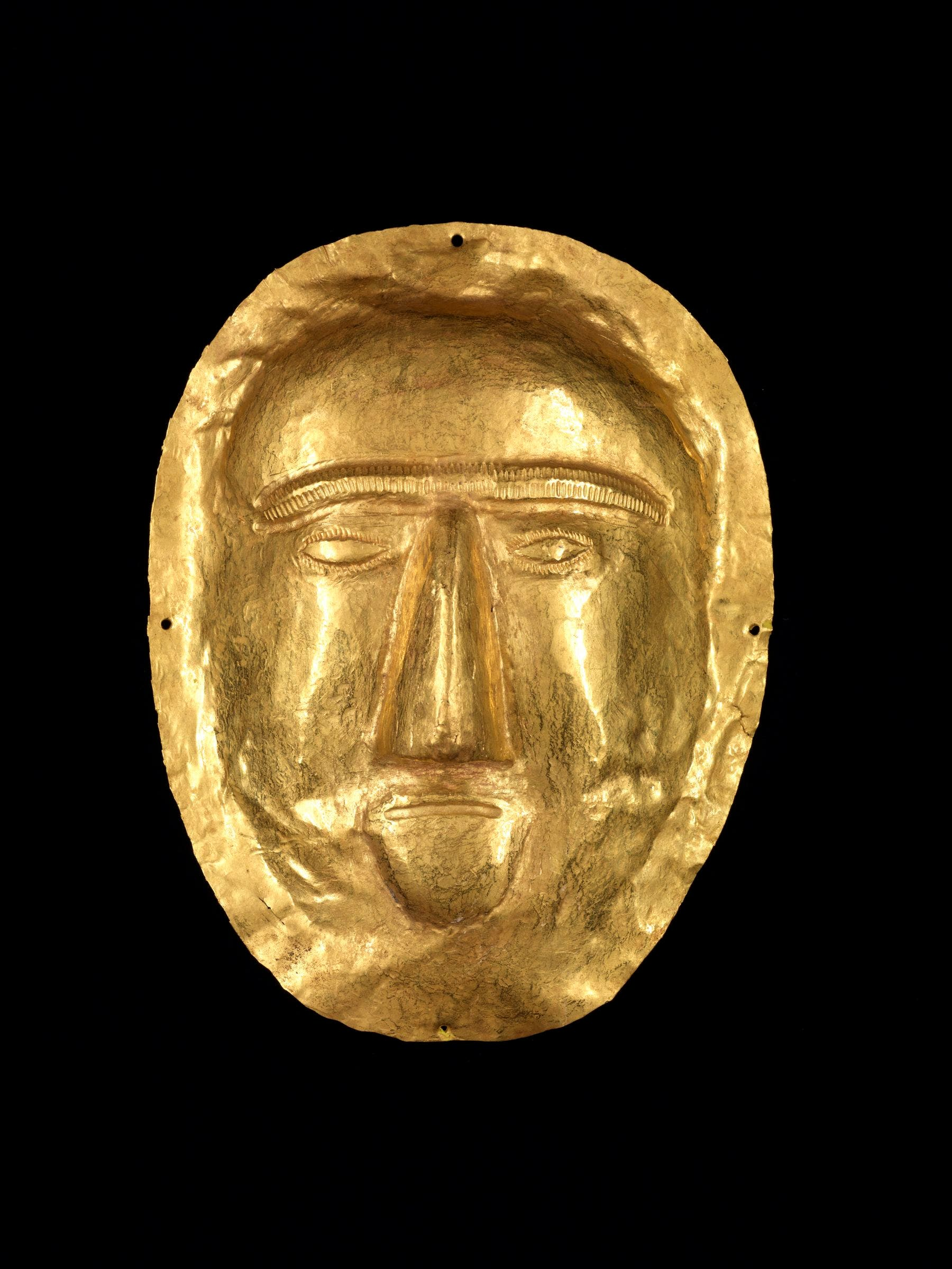 Funerary Mask, Thaj, Tell al-Zayer, Saudi Arabia, 1st century BC, gold, National Museum, Riyadh