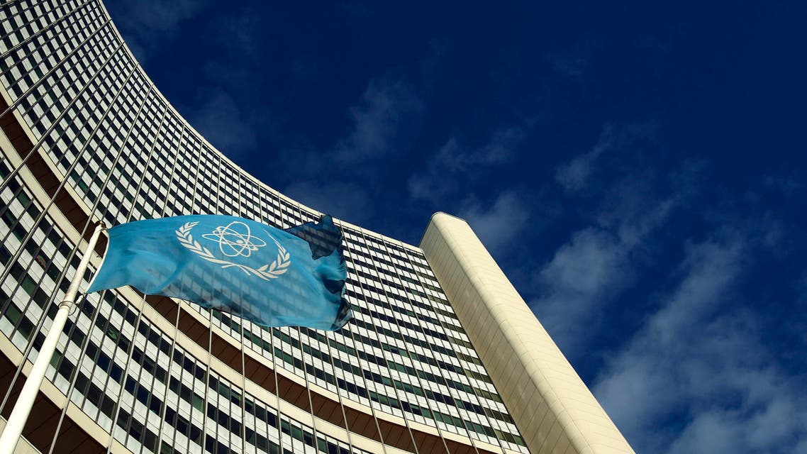 The flag of the International Atomic Energy Agency (IAEA) flies in front of its headquarters during a board of governors meeting in Vienna November 28, 2013.