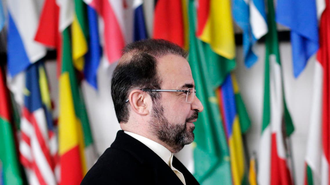 Iran's ambassador to the International Atomic Energy Agency (IAEA) Reza Najafi arrives for a news conference at the headquarters of the IAEA in Vienna December 11, 2013