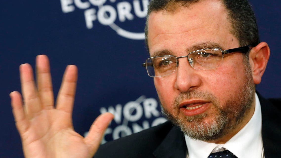Egypt's then Prime Minister Hisham Kandil addresses delegates during the annual World Economic Forum (WEF) in Davos, in this file picture taken January 24, 2013.