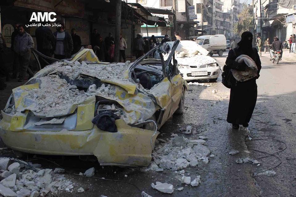 اضرار ناتجة عن براميل متفجرة في حلب