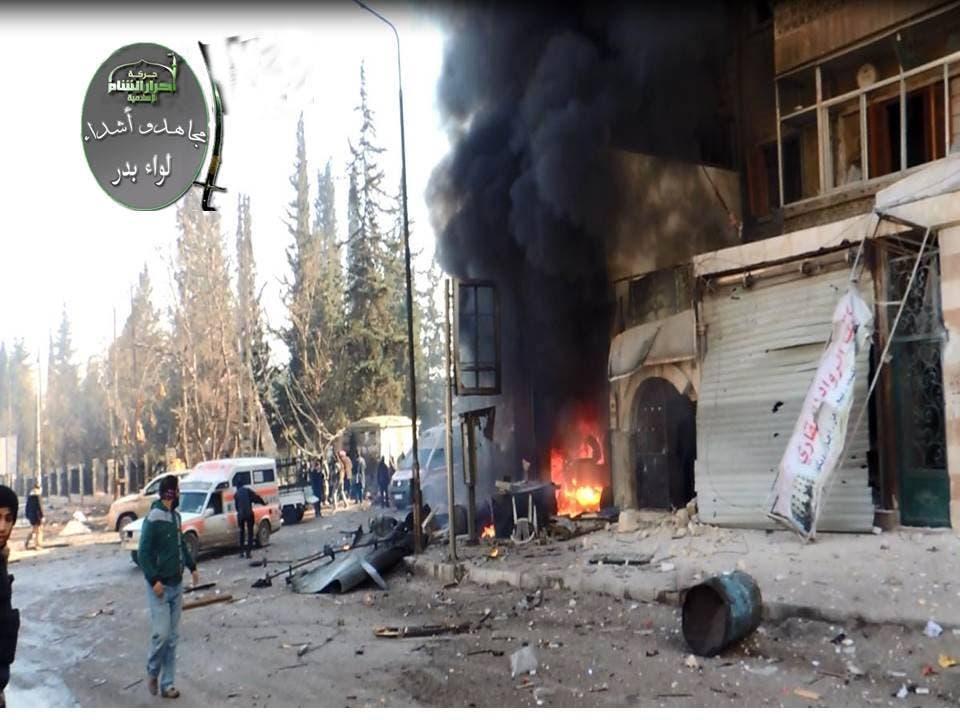 آثار براميل متفجرة في حلب