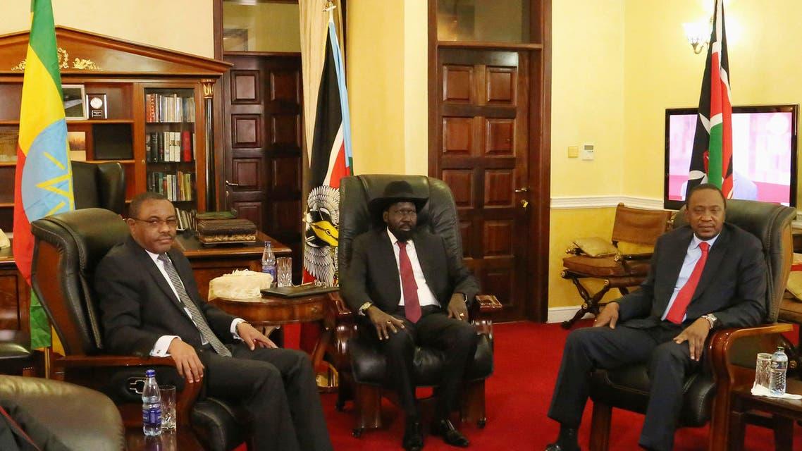Ethiopia's Prime Minister Hailemariam Desalegn, South Sudan President Salva Kiir and Kenya's President Uhuru Kenyatta meet in the capital Juba December 26, 2013. (Reuters)