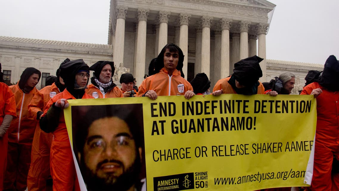 An Amnesty International protest in Washington calling for the release of Shaker Aamer. (Photo courtesy: Amnesty)