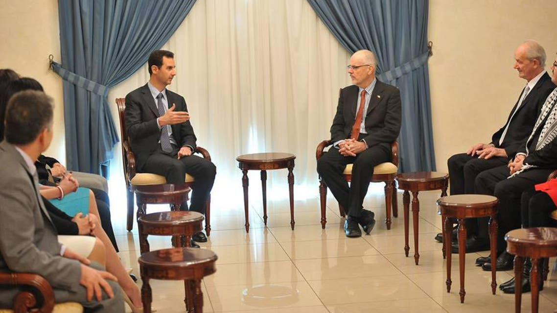 The Syrian presidency posted this picture showing Bashar al-Assad meeting with the Australian delegation