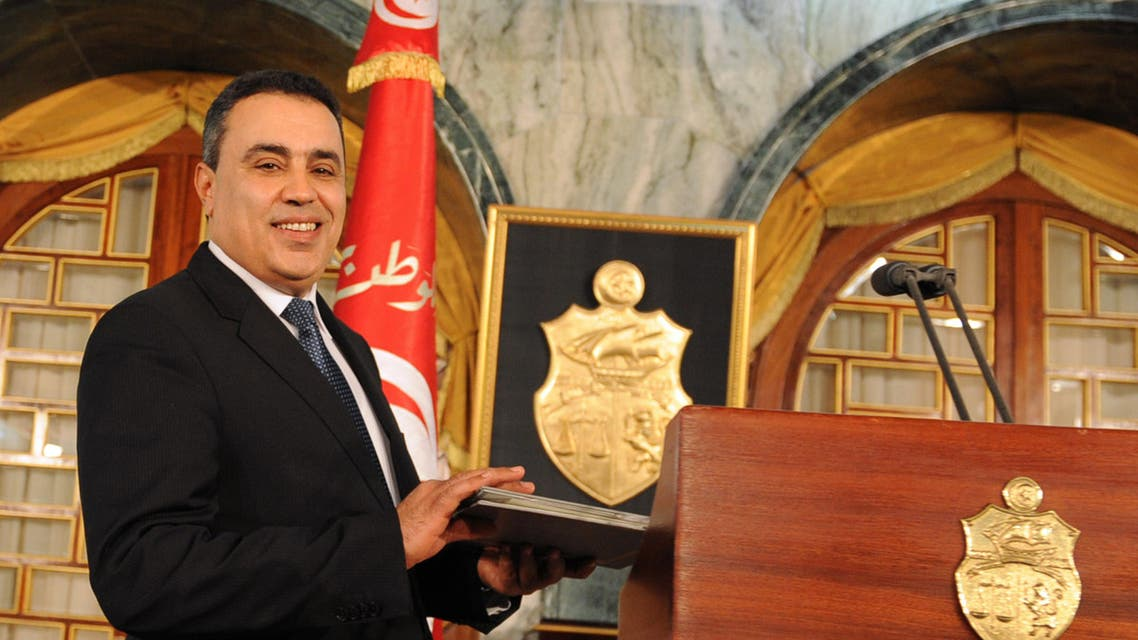 Tunisia's premier-designate Mehdi Jomaa arrives at his first press conference after a meeting with the Tunisian President on Jan. 10, 2014 in the Carthage Palace in Tunis. (AFP)