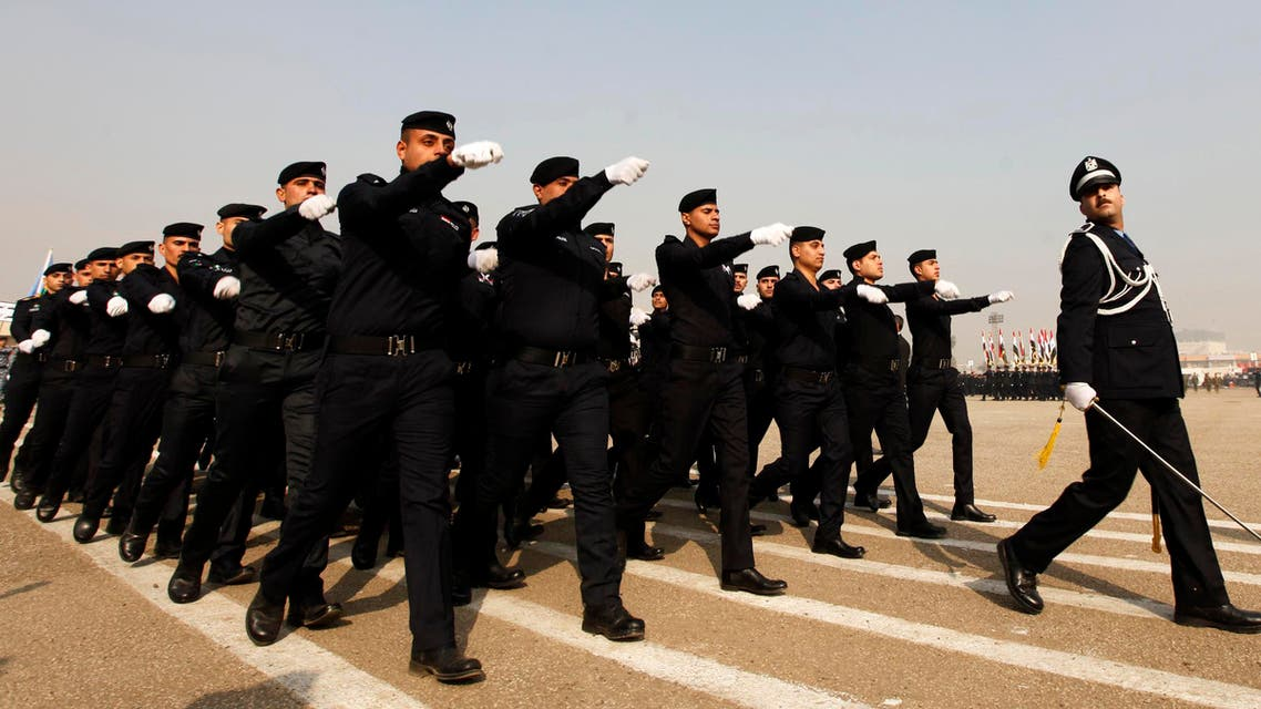 Troops of the Interior Ministry take part in a parade during a ceremony marking the Iraqi Police's 92nd anniversary at a police academy in Baghdad January 9, 2014.  reuters